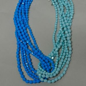Multi Strand Mint blue Beaded Necklace